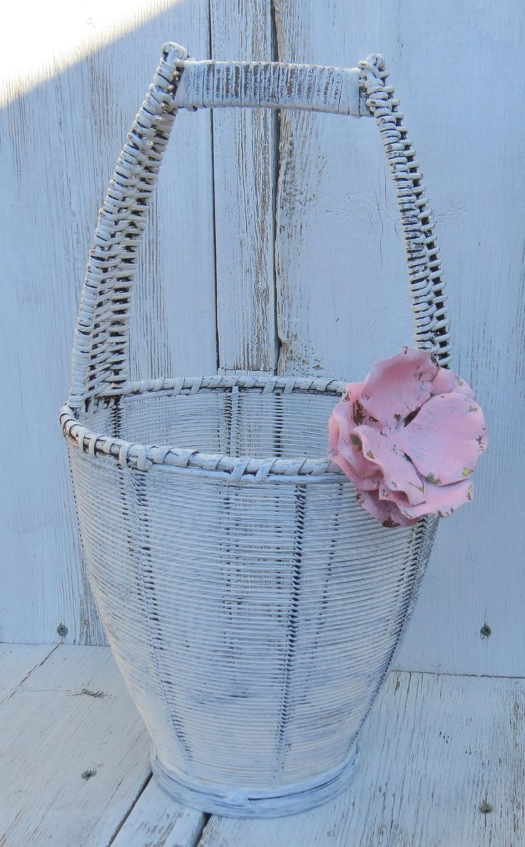Potpourri basket, shabby wire basket, wicker bowl, key basket, rustic wire, painted wire decor, basket decor, rustic basket, white basket by ChippedPaints on Etsy