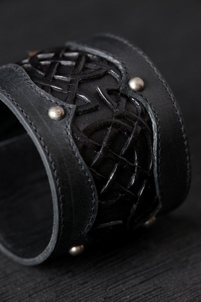 "Leather Cuff, Leather Bracelet: Black Leather Cuff with a Celtic Design ""Celtic Black Beauty Cuff"". $75,00"