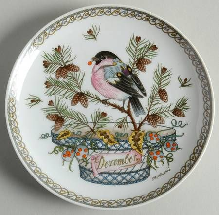 """Hutschenreuther Plates of the Month - Bb Size - """"December:"""" Bullfinch - Artist: Ole Winther"""