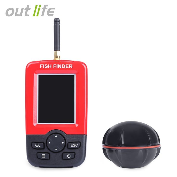 Outlife Fish Finder Sonar Sounder Alarm Transducer Fishfinder 100M Fishing Wireless Echo Sounder with English Dispaly Portable