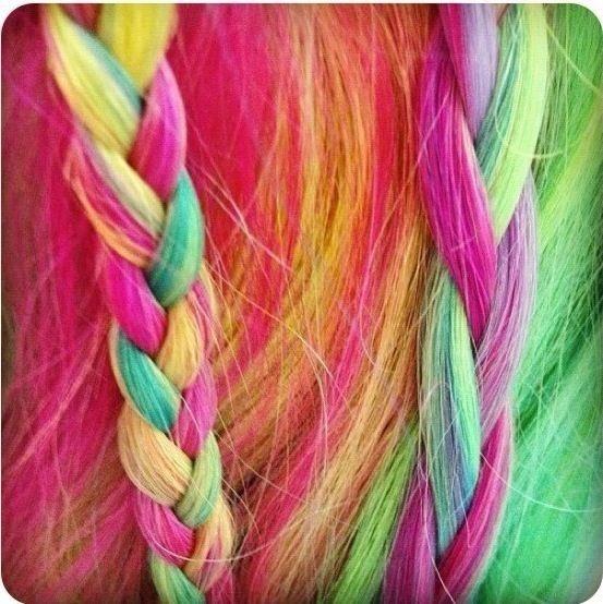 Rainbow hair braid | Hair | Pinterest | Rainbow Hair ... Rainbow Braids