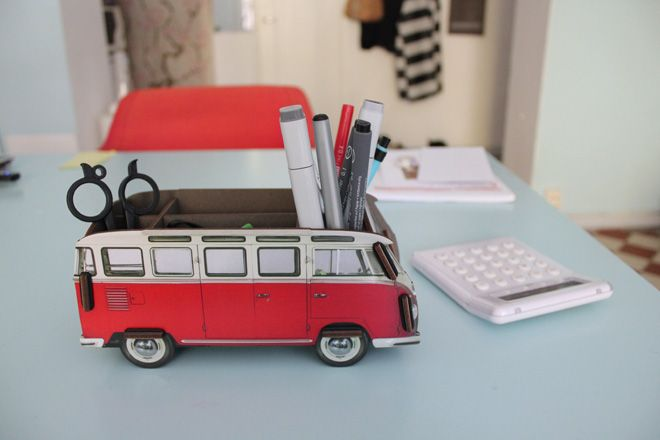 Old fashioned Volkswagon turned into pencil holder. Lovely.