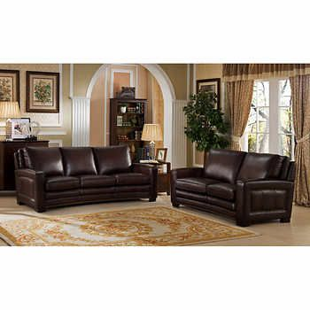 Camber Top Grain Leather Living Room Sofa and Loveseat