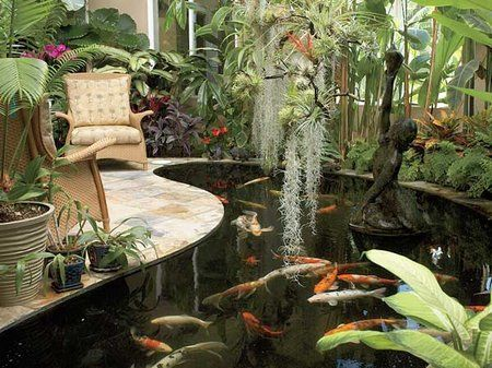Water features in a greenhouse can come in the form of a pond, fountain, or waterfall. All three of these options fill the greenhouse with the sound of running water, creating a tranquil, relaxing atmosphere. The background noise provided by the running water also drowns out unwanted sounds, such as traffic.