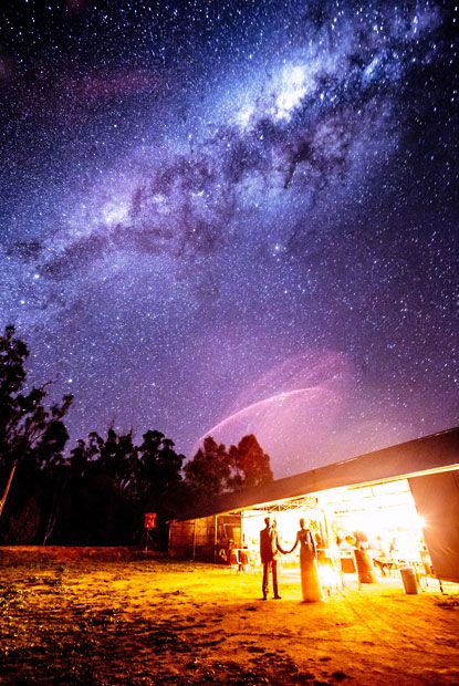 A couple were over-the-moon when photographer Lakshal Perera managed to capture them and the Milky Way in their wedding photograph. The image was captured in a single 71-second exposure as newly-weds Shirley and Warren Andrews stood very still. It was taken on a farm Deniliquin, New South Wales where the couple live.