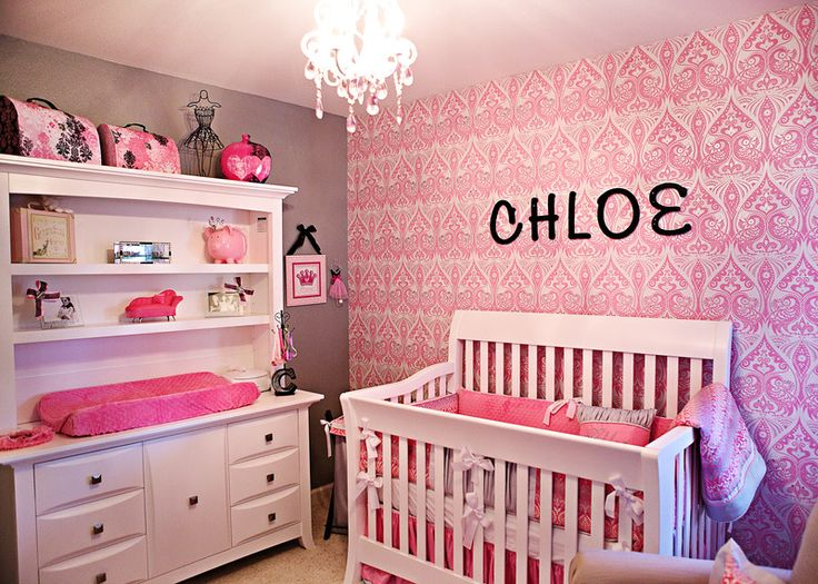 A wallpaper accent wall can make such an impact in a sweet nursery!Baby Girl Nurserys, Girl Nurseries, Girls Room, Baby Girls, Baby Room, Damasks Nurseries, Changing Tables, Accent Walls, Babies Rooms