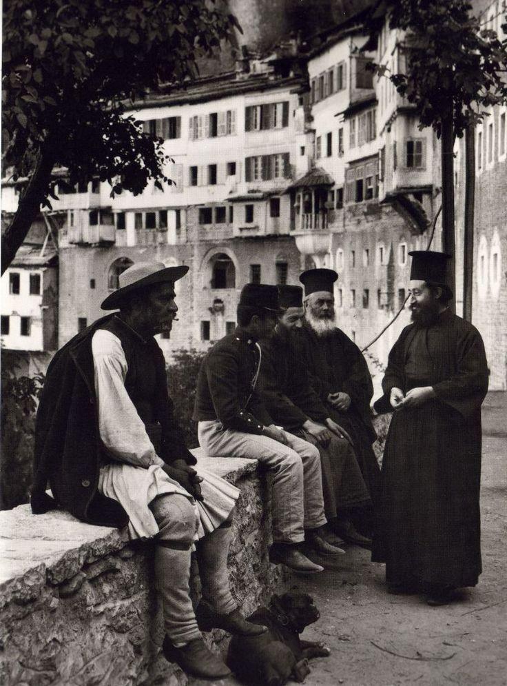 Outside Mega Spileo Monastery in Kalavryta, 1903, François Frédéric (Fred) Boissonnas (1858-1946)