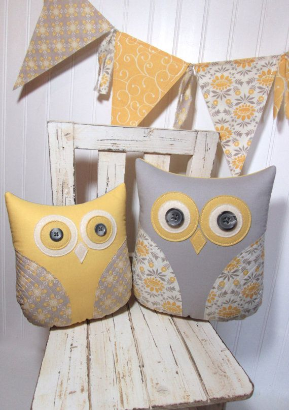 Decorative owl pillows grey yellow owls by whimsysweetwhimsy