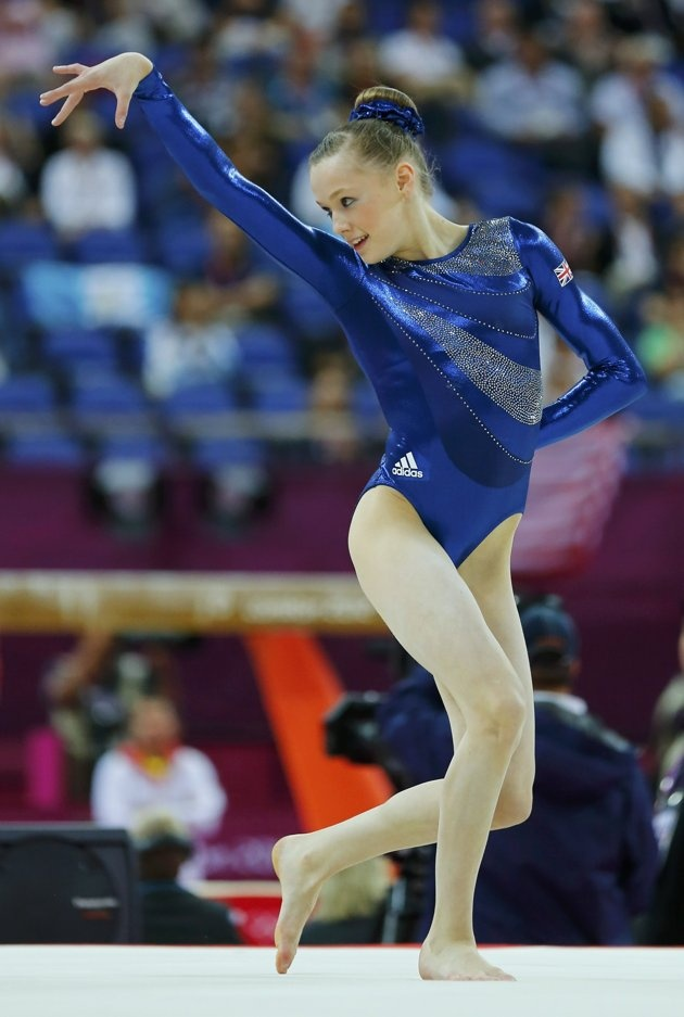 Rebecca Tunney of Britain performs her floor exercise during the women's individual all-around gymnastics final in the North Greenwich Arena at the London 2012 Olympic Games