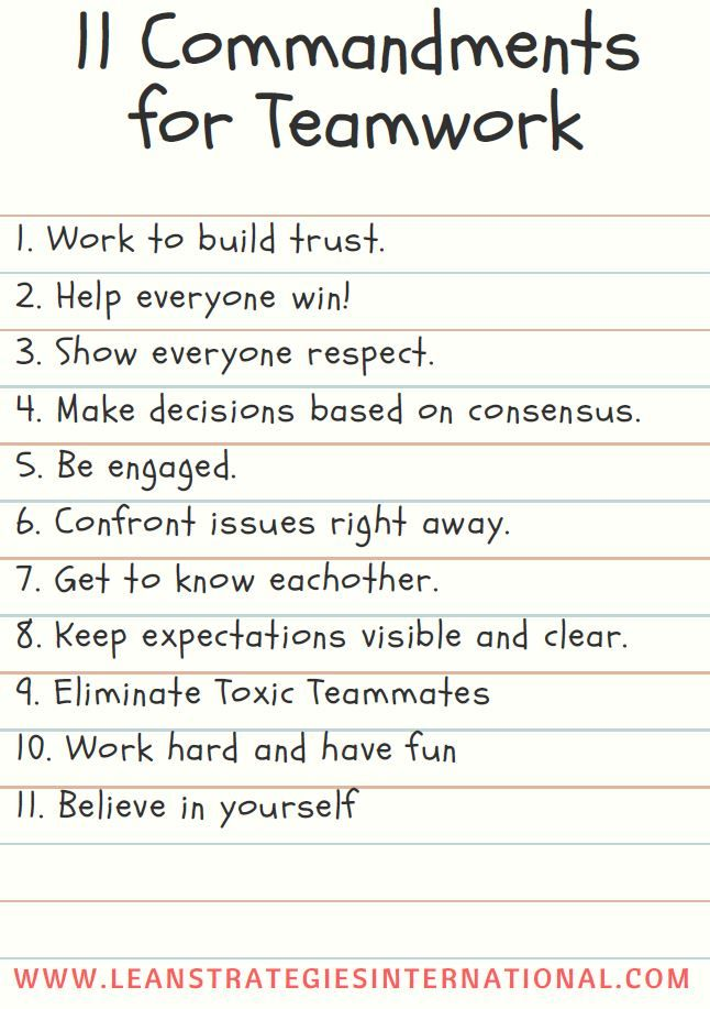 11 commandments of a team, download a free poster on Lean Strategies International LLC.    #teamwork #team