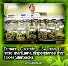 In Denver, Colorado there are more weed stores than there are Starbucks!  Um yes please...