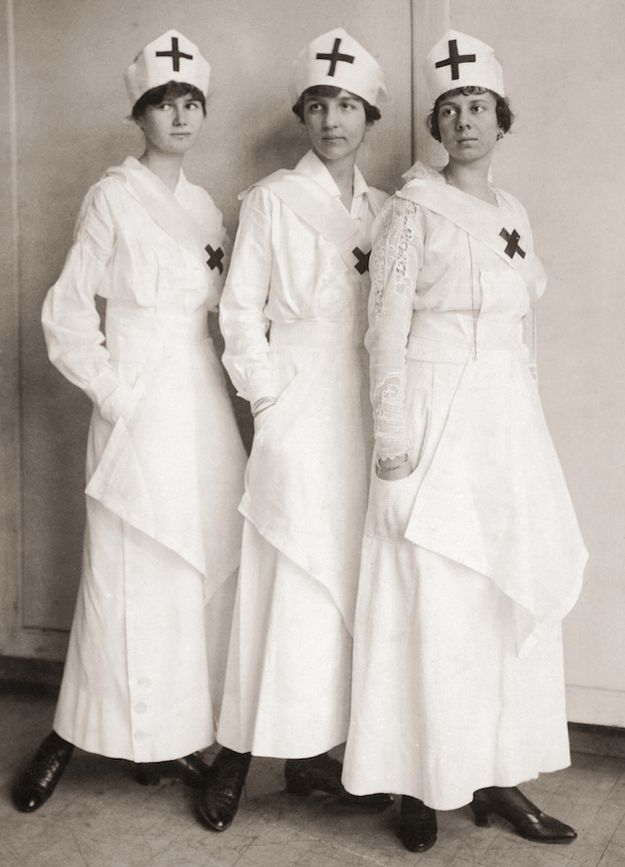 An image of three women taking nurse jobs during the first world war. This was extremely common in this time. Most women took these jobs as it meant that they were basically married to the job and therefore meant that they didn't get stuck with being a stay at home mother/wife.