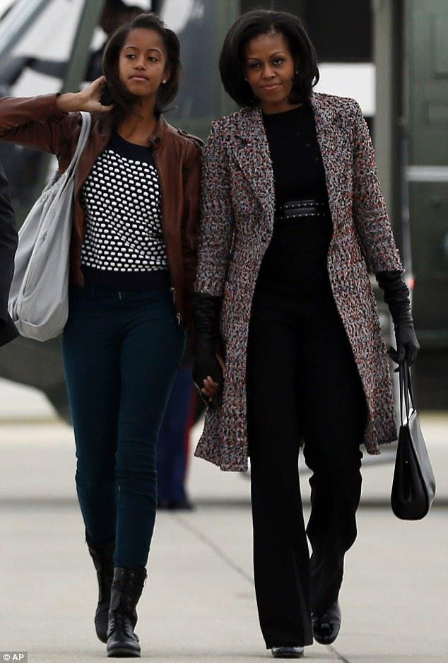Mother & daughter. It's great to see that Malia appears to have a great relationship with her mom, those teenage years are often when daughters start to pull away (briefly).
