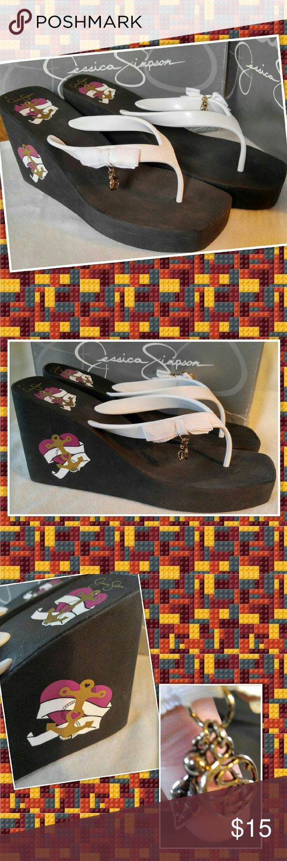 Jessica Simpson TICCA Wedges Sandals flip flops Jessica Simpson  TICCA  Wedges Sandals flip flops  Worn once Size 10 Jessica Simpson Shoes