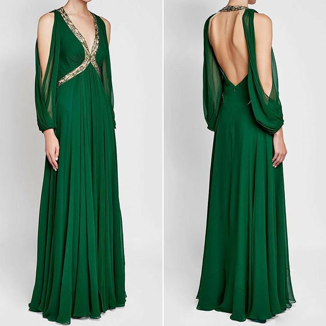 Jenny Packham Green Chiffon Evening Gown | 1930s Evening Gown | 1920s Vintage Style Dress