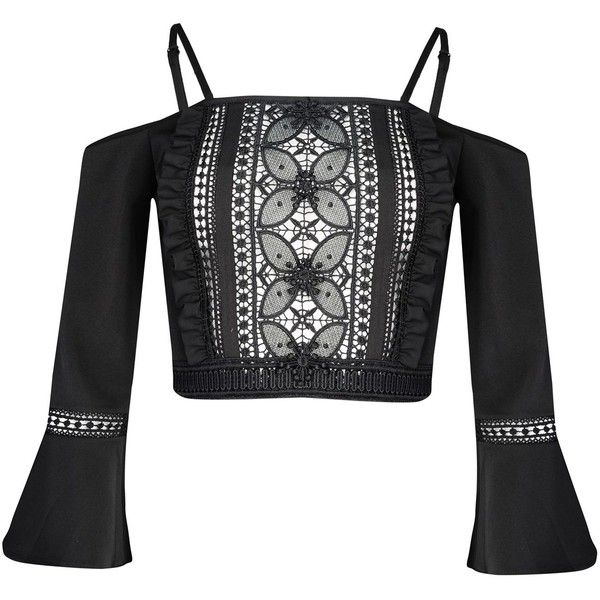 Glamorous Crochet Bardot Crop Top (602.355 IDR) ❤ liked on Polyvore featuring tops, black, women, crochet tops, crochet crop top, cut-out crop tops, macrame top and crop top