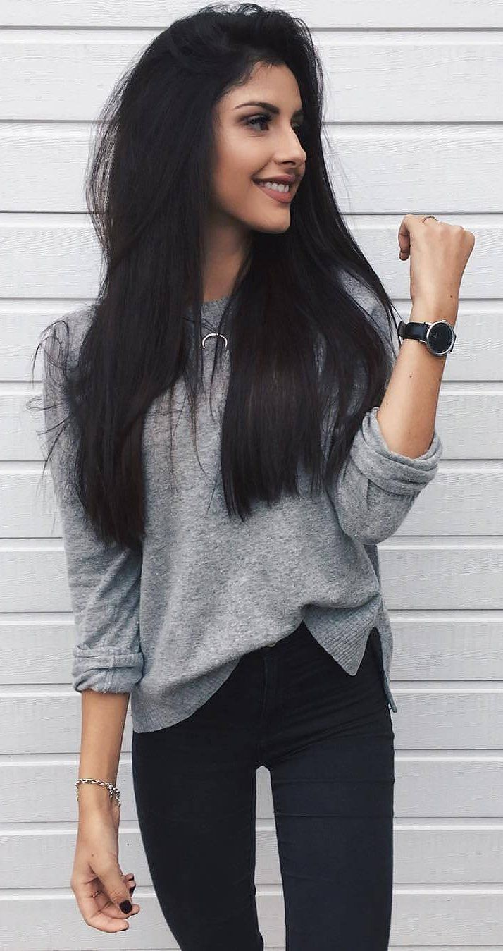 #cute #outfits Grey Knit // Black Skinny Jeans