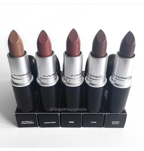 MAC Lipsticks | Left to Right: Naturally Transformed, Persistence, Whirl, Stoke, and Antique Velvet