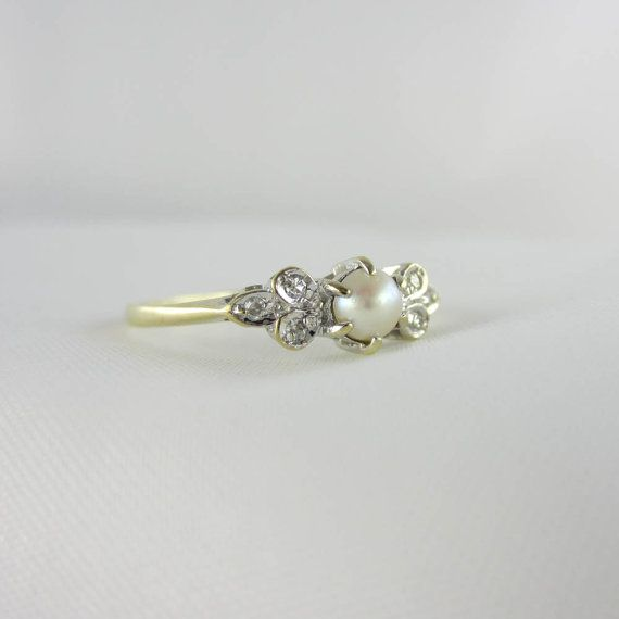 Vintage Pearl & Diamond Ring. Pearl Engagement by Addy. In luv!