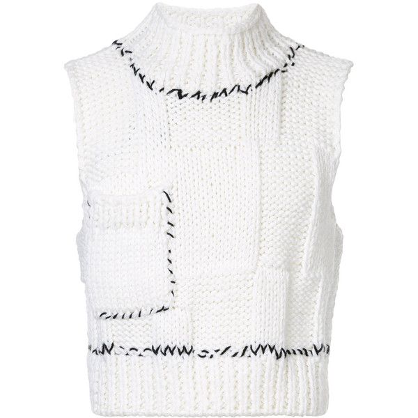 Raf Simons cropped knitted sweater vest (3,635 SAR) ❤ liked
