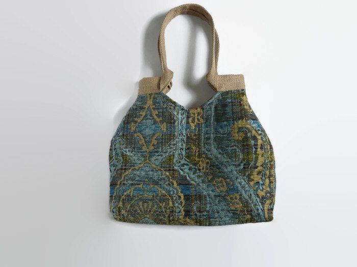 Tapestry tote bag , trendy shoulder bag, blue tote bag, bohemian style tapestry, tapestry handbag , carpet bag - pinned by pin4etsy.com