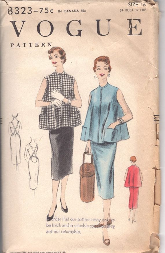 1950s Vintage Vogue 8323 Two Piece Maternity Dress Sewing Pattern  Sleeveless, with simulated button closing below a collarless neck-line. Two piece skirt with released pleat at center- back has cut-out front and suspenders.  34 Bust 37 Hip  CUT COMPLETE - all pieces Envelope is in good condition  Please check out all of my ETSY items and my Website : lulavintagemn.com