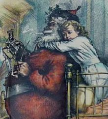 Santa is now larger than the child. Thomas Nast,  Harper's Weekly, December 24, 1881.