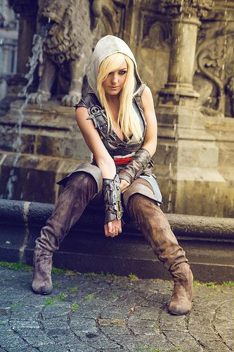 """I like this outfit... well done. Nice location for a shoot too."" Jessica nigiri assassins creed cosplays"