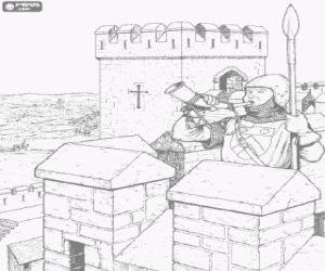 Colorear El guardia de la torre fortificada