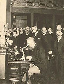 Alexander Graham Bell placing the first New York to Chicago telephone call in 1892.