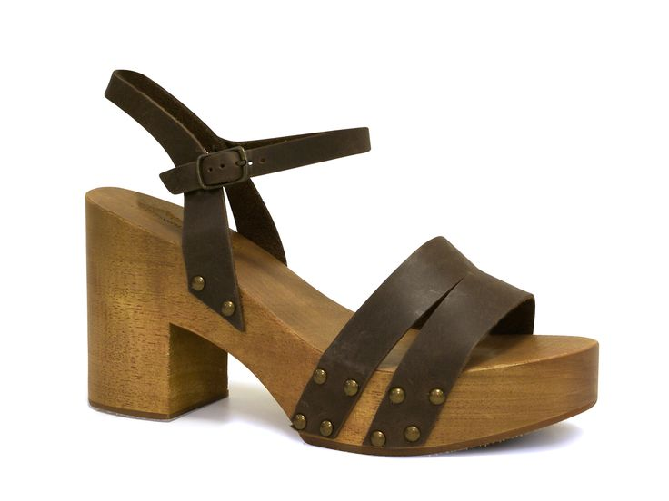 White sandals handmade in brown calf leather and wood - Italian Boutique €63