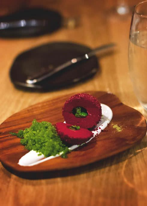 {beetroot, buttermilk labne, dill and cucumber granita} The Tasting Room, Le Quartier Francais - Franschhoek