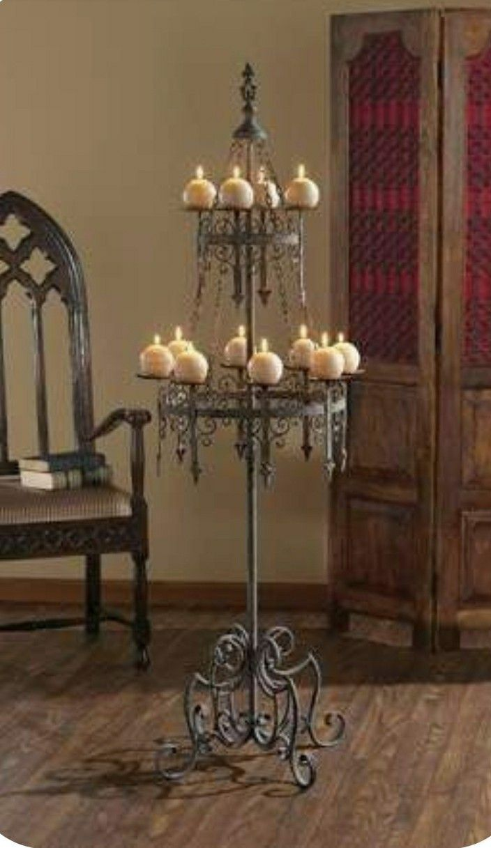 Pin by Эдуард on Really Cool Stuff in 2020 Medieval home decor Goth home decor Floor candelabra
