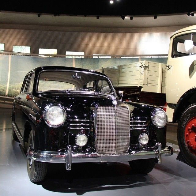 "This 1955 Mercedes-Benz 180 marks the transition for Mercedes-benz to the modern three-box design. It got the name ""Ponton"" Mercedes because its silhouette resembles the cross section of a pontoon bridge. Photo by @JensStratmann (by: mercedesbenzmuseum )"