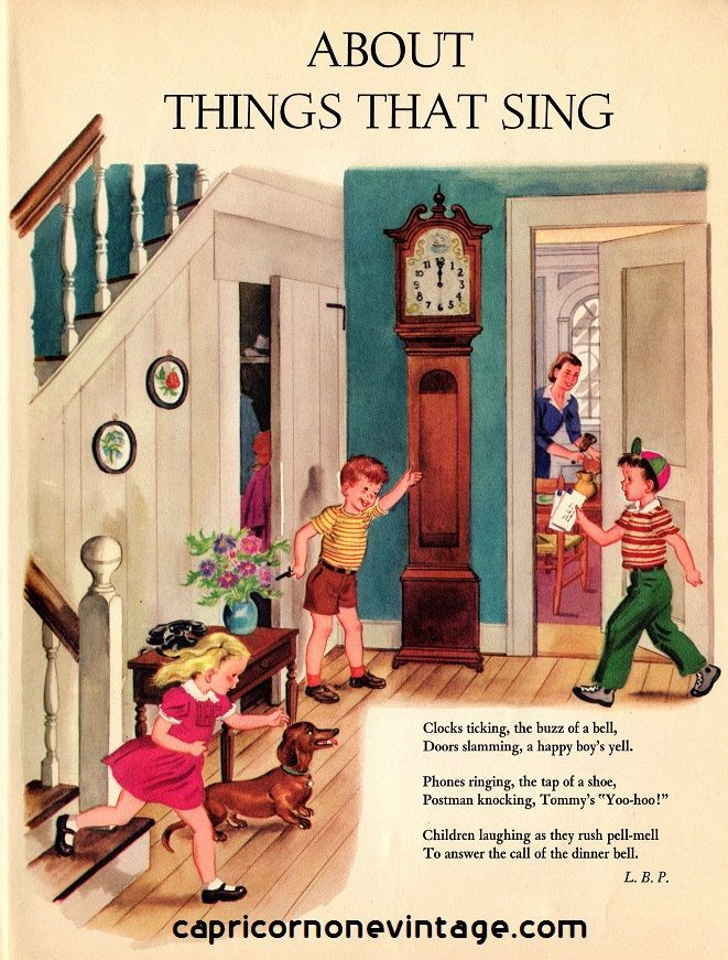 Vintage 1940s children 39 s book page about things that sing Vintage childrens room decor