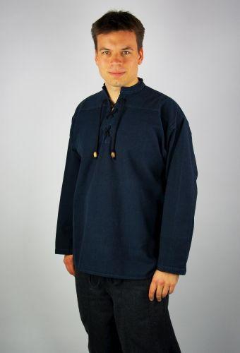 Hemd mit Stehkragen, blau von Leonardo Carbone