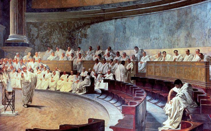CICERÓN. Cicerón desenmascara a Catilina. Cesare Maccari.