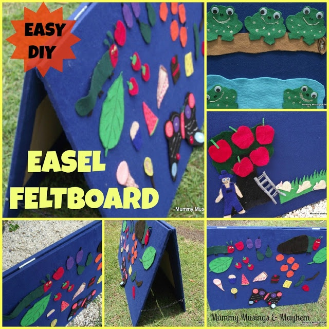 DIY Easel Feltboard (wonder if I could do this with foam board/science fair project foldable boards, so it would be lighter & more portable)