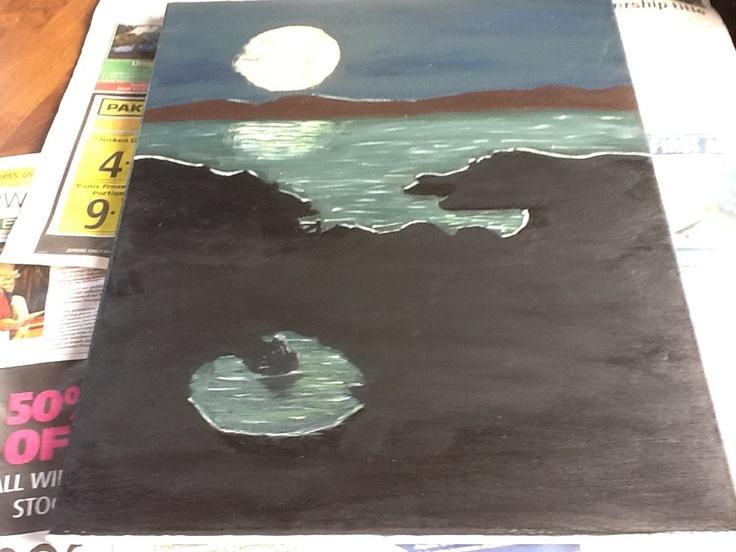 Moonlight over the Coramandel painted by J L Franklin (Jen Franklin) 2012