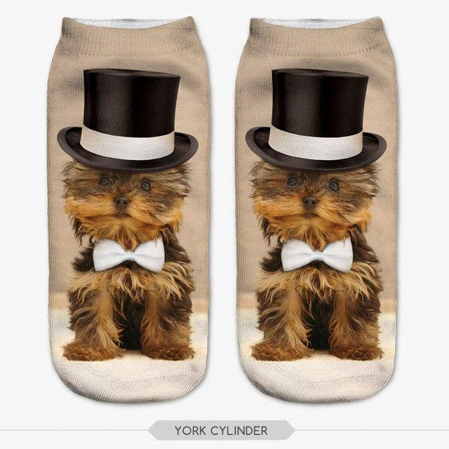 ZHBSLWT 3D Printed Socks Women New Unisex Cute Low Cut Ankle Socks Multiple Colors Women Sock Women's Casual Animal Shape Socks