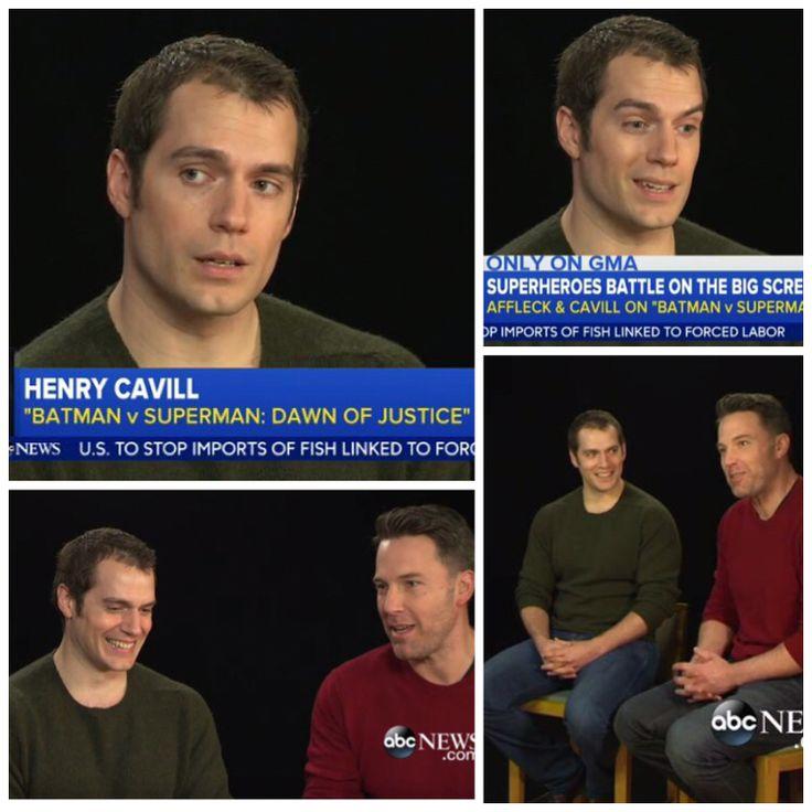 WATCH: Henry Cavill and Ben Affleck talk #BatmanvSuperman on GMA. bit.ly/1QFLKnb #HenryCavill #Superman #Batman #ManofSteel #DawnofJustice