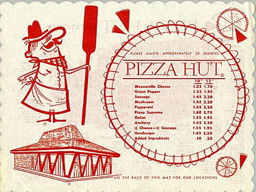 Early Pizza Hut Menu