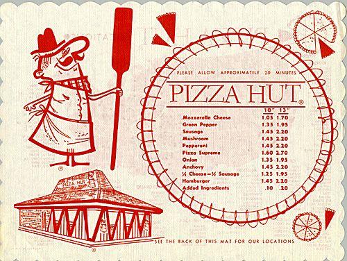 Early Pizza Hut Menu