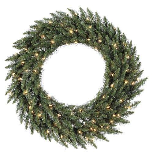 96 in. Camdon Fir Pre-lit Christmas Wreath, Clear
