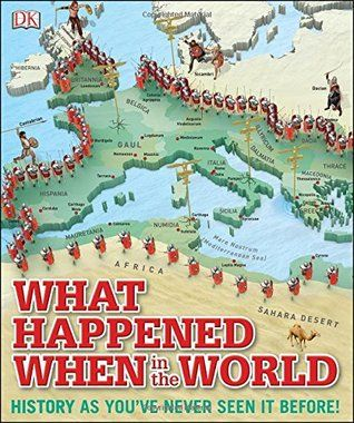 """What Happened When in the World"", by DK Publishing - History as you've never seen it before, walk through the past and find out what happened when. Step into What Happened When in the World, a unique historical atlas for kids and discover the global events that shaped our world."