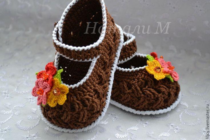 """Купить Туфельки """" Корзиночки """" - коричневый, цветочный, туфельки, туфельки для кукол, туфельки для девочки"""