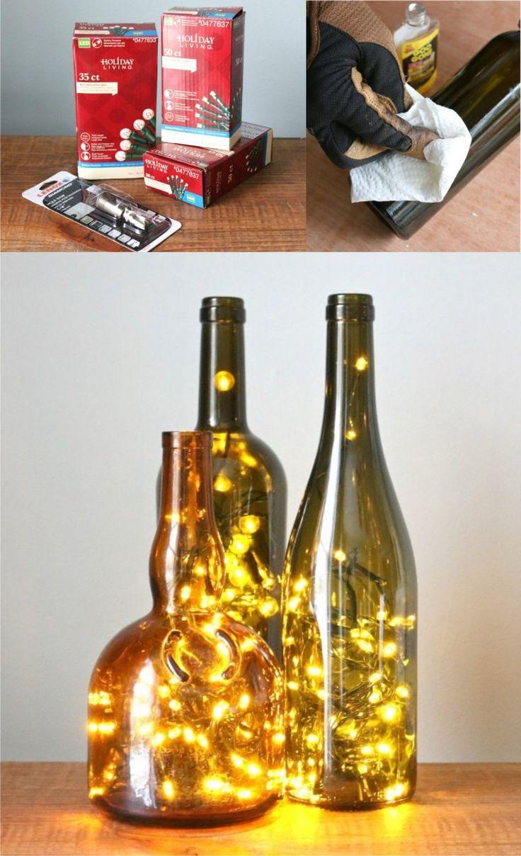 Botellas con luces de navidad - 17apart.com - DIY Wine Bottle Christmas Lights