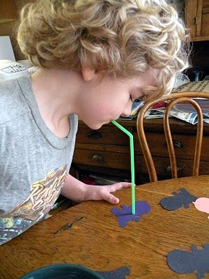 Cut out shapes out of construction paper and then have your child use only a straw (no hands!) to pick up and move the shapes.  Visit pinterest.com/arktherapeutic for more #oralmotor games and exercise ideas
