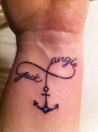I love love this version of infinity anchor tattoo with child's name, just add across at the end of the name.
