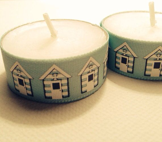 Vintage Shabby Chic rustic beach hut, Mr & Mrs or floral candles - pretty tea light decorations as favours or gifts